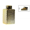 Ceramic Tall Square 140 oz. Canister with Round Lid and Embossed Polygonal Design LG Polished Chrome Finish Gold