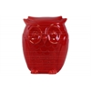 Ceramic Standing Owl Figurine Gloss Finish Red