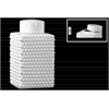 Ceramic Tall Square 140 oz. Canister with Round Lid and Embossed Polygonal Design LG Gloss Finish White
