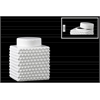 Ceramic Short Square 100 oz. Canister with Round Lid and Embossed Polygonal Design SM Gloss Finish White