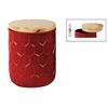 Ceramic Round 60 oz. Canister with Embossed Hexagon Pattern and Wood Lid LG Gloss Finish Red