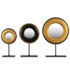 Wood Round Charger Abstract Sculpture with Mirror on Rectangular Stand Set of Three Brushed Finish Gold and Black