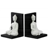 Resin Meditating Buddha with Rounded Ushnisha in Dhyana Mudra with Base Bookend Assortment Of Two Gloss Finish White