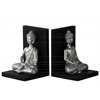 Resin Meditating Buddha with Rounded Ushnisha in Dhyana Mudra with Base Bookend Assortment Of Two Gloss Finish Silver