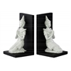 Resin Kneeling Buddha with Pointed Ushnisha in Anjali Mudra and Base Bookend Assortment of Two Gloss Finish White