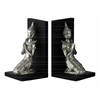 Resin Kneeling Buddha with Pointed Ushnisha in Anjali Mudra and Base Bookend Assortment of Two Gloss Finish Silver