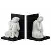 Resin Buddha with Rounded Ushnisha and Head Resting on Knee and Base Bookend Assortment of Two Gloss Finish White