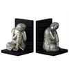Resin Buddha with Rounded Ushnisha and Head Resting on Knee and Base Bookend Assortment of Two Gloss Finish Silver