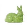 Ceramic Laying Rabbit Figurine with Head Turned to Side LG Gloss Finish Green