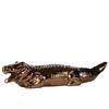 Ceramic Crocodile Figurine LG Polished Chrome Finish Gold