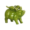 Ceramic Standing Winged Pig Figurine Gloss Finish Apple Green