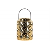 Ceramic Round Lantern with Quatrefoil Cutouts and Black Metal Handle Polished Chrome Finish Gold