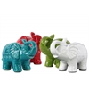 Ceramic Trumpeting Standing Elephant Figurine LG Assortment of Four raquelure Gloss Finish Assorted Color  (Red,Turquoise,Blue,White)
