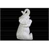 Ceramic Trumpeting and Sitting Up Elephant Figurine with Arms Crossed LG Gloss Finish White