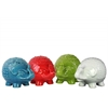 Ceramic Standing Trumpeting Elephant Figurine with Egg-shaped Body Figurine Assortment of Four Gloss Finish Assorted Color (Turquoise, Red, White and Green)