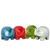 Ceramic Standing Trumpeting Elephant Figurine with Flat Trunk Figurine Assortment of Four Gloss Finish Assorted Color (Turquoise, Red, White, Green)