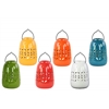 Ceramic Cylindrical Tea Light Lantern with Metal Handle Assortment of Six LG Gloss Finish Assorted Color (Yellow Green, Red, Orange, Amber, White and Teal)
