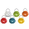 Ceramic Round Tea Light Lantern with Metal Handle Assortment of Six LG Gloss Finish Assorted Color (Yellow Green, Red, Orange, Amber, White and Teal)