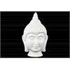 Ceramic Buddha Head with Pointed Ushnisha Gloss Finish White