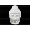 Ceramic Buddha Head with Rounded Ushnisha Gloss Finish White
