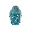 Ceramic Buddha Head with Rounded Ushnisha Gloss Finish Turquoise