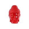 Ceramic Buddha Head with Rounded Ushnisha Gloss Finish Red