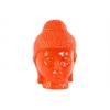 Ceramic Buddha Head with Rounded Ushnisha Gloss Finish Orange