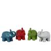 Ceramic Trumpeting Standing Elephant Figurine SM Assortment of Four Assorted Color Craquelure Gloss Finish Assorted Color (Red, Turquoise, Green and White)