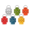 Ceramic Octagonal Tea Light Lantern with Metal Handle Assortment of Six Gloss Finish Assorted Color (White, Turquoise, Green, Red, Yellow and Orange)