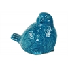 Ceramic Bird Figurine Looking Right Gloss Finish Turquoise