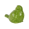 Ceramic Bird Figurine Looking Right Gloss Finish Green