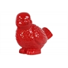 Ceramic Bird Figurine Looking Left Gloss Finish Red