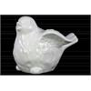 Ceramic Bird Figurine with Wings Up LG Gloss Finish White