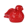 Ceramic Bird Figurine with Wings Up SM Gloss Finish Red