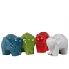 Ceramic Standing Elephant Figurine with Polygonal Swirl Design Assortment of Four Gloss Finish Assorted Color (Red, Green, Turquoise and White)