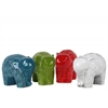 Ceramic Standing Elephant Figurine with Round Swirl Design Assortment of Four Gloss Finish Assorted Color (Red, Green, Turquoise and White)