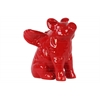 Ceramic Sitting Winged Pig Figurine Gloss Finish Red
