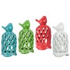 Ceramic Lantern with Bird on Top and Cutout Diamond Design Body Assortment of Four Assorted Color Coated Finish (Blue, Red. Green and White)