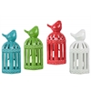 Ceramic Lantern with Bird on Top and Cutout Rectangle Design Body Assortment of Four Assorted Color Gloss Finish (Blue, Red, Green and White)
