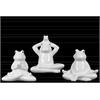Ceramic Meditating Sitting Frog Figurine Assortment of Three Distressed Gloss Finish White