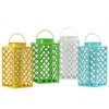 Metal Square Lantern with Handle, Diagonal Cutout Design and Glass Tube Assortment of Four Gloss Finish Assorted Color (White, Blue, Yellow and Green)