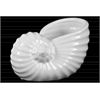 Ceramic Nautilus Seashell Sculpture Gloss Finish White