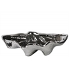 Ceramic Open Valve Clam Seashell Sculpture Polished Chrome Finish Silver