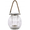 Glass Round Bellied Jar Shaped Candle Holder with Rope Hanger Clear Glass Finish Achromatic
