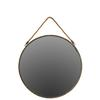 Metal Round Wall Mirror with Rope Hangers Tarnished Finish Bronze