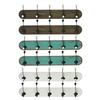 Wood Coat Hanger with 5 Double Hooks LG Assortment of Six Stained Wood Finish Assorted Color (Brown, Turquoise and White)