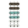 Wood Coat Hanger with 3 Double Hooks SM Assortment of Six Stained Wood Finish Assorted Color (Brown, Turquoise and White)