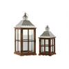 Wood Square Lantern with Pierced Metal Top, Glass and Perpendicular Lines Design Side, and Ring Handle Set of Two Natural Wood Finish Brown