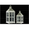 Wood Square Lantern with Pierced Metal Top, Glass and Perpendicular Lines Design Side, and Ring Handle Set of Two Coated Finish White