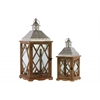 Wood Square Lantern with Pierced Metal Top, Glass and Diamond Design Side, and Ring Handle Set of Two Natural Wood Finish Brown